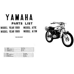 1969 Yamaha At1e At1m Motorcycle Parts List Manual Guide Ebay