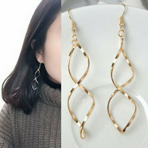 New Simple Spiral Curved Long Drop Earrings Women Wave Design Fashion Jewelry