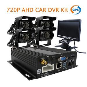 4CH-GPS-720P-HD-AHD-Car-DVR-Video-Recorder-Kit-Car-Rear-View-Camera-7-034-Monitor