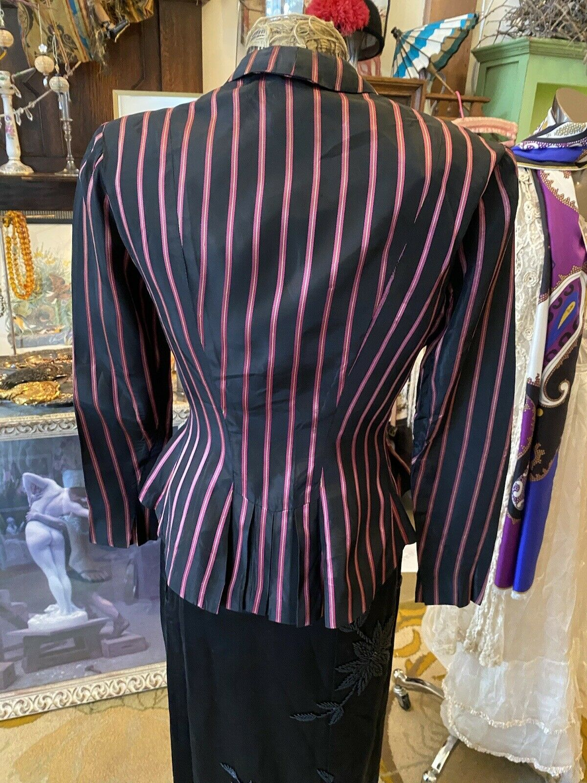 Vintage Rare Ceil Chapman  satin  stripe Fitted A… - image 5