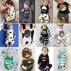 Newborn Toddler Kids Baby Boys Girls Outfits Clothes T-shirt Tops Pants 2PCS Set