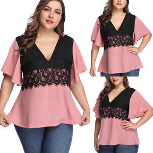 Plus-Size-Women-039-s-Crochet-V-Neck-Short-Sleeve-Casual-Summer-T-Shirt-Blouse-Tops