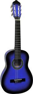 Gitarre-1-4-Groesse-kinder-jugend-wander-Modell-K3-in-blau-mit-Endknopf-n