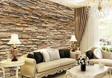 Modern 3D Brick Stone Style Wallpaper Bedroom Living Mural Roll Wall Background