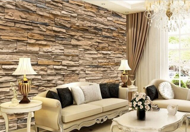 . US stock 3D Wallpaper Bedroom Living Mural Roll Modern Faux Brick Stone Wall