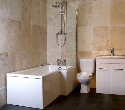 L Shape Bath Bathroom Modern Vanity Unit Cabinet Suite Shower Screen Toilet Pan