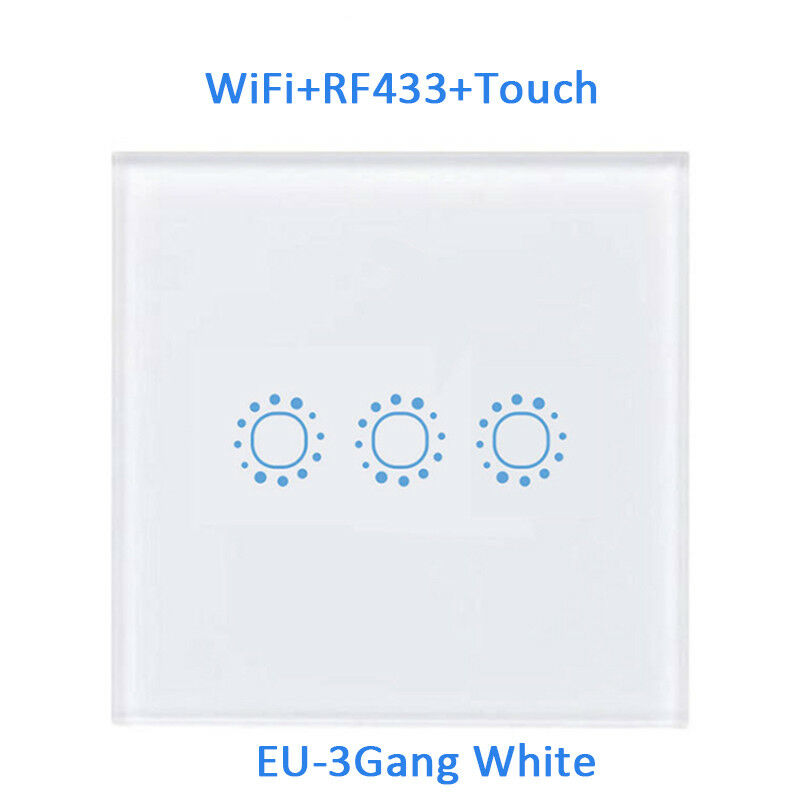 Smart 1/2/3 Gang EU Panel Glass Touch LED Light Switch Wifi,Remote,Dimmer Switch 9