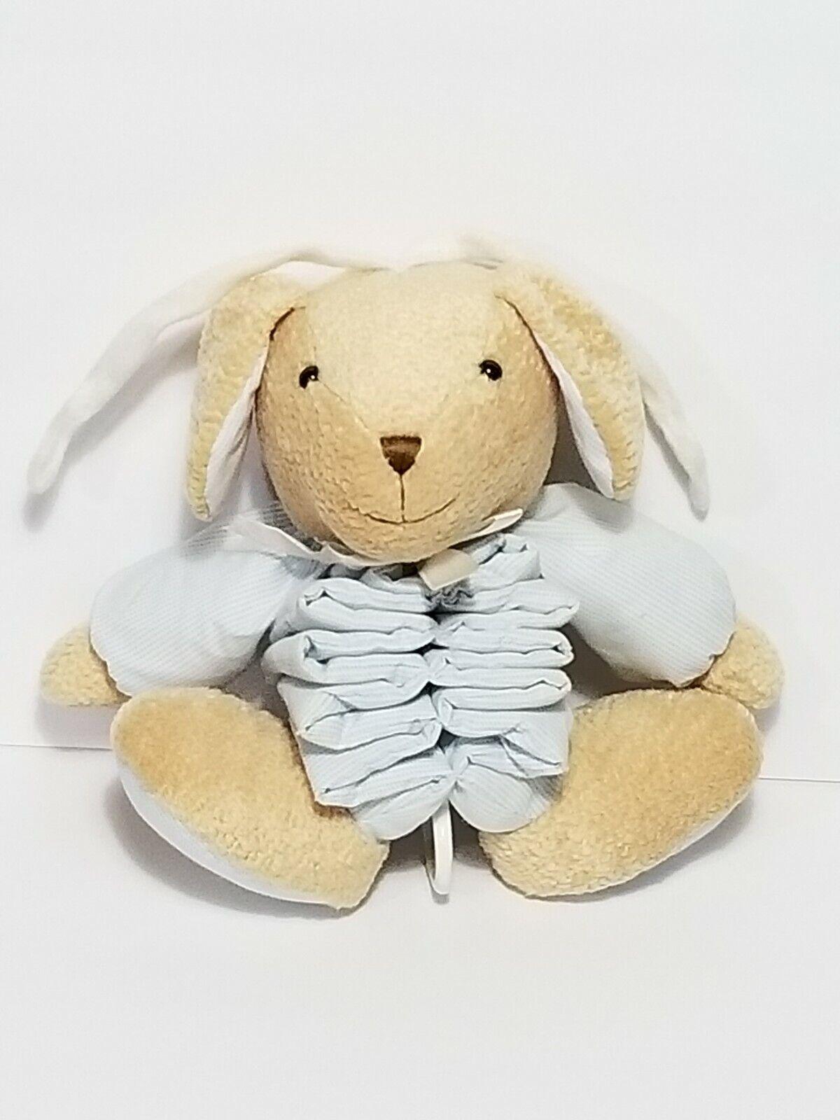 Carters Just One Year Bunny Rabbit Musical Pull Toy Blau Accordion Plush Stuffed