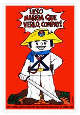 """Elpidio Valdes El Fosil Bachs 1980 icaic Movie Poster Art silkscreen CUBA 20X30/"""""""