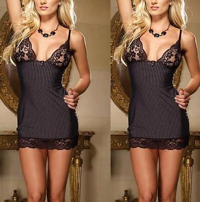 Sexy Women Stripe Babydoll Lace Dress Lingerie Sleepwear Underwear+G-string  WOA