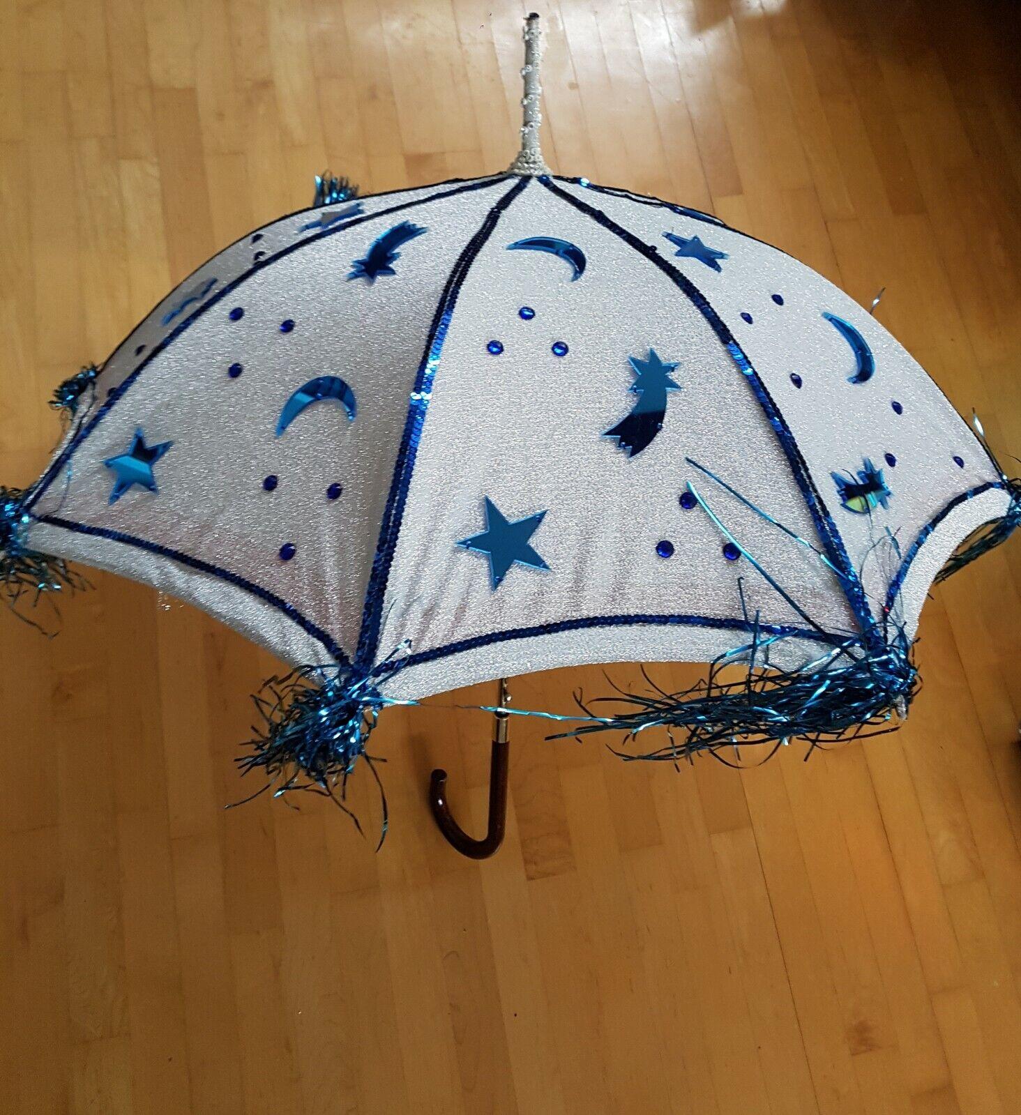 ❤ parapluie parasol Cosplay mardi gras Théâtre Carnaval, bleu, à la main 💙