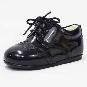 Image Is Loading Baby Boys Black Patent Brogue Shoes Formal Smart