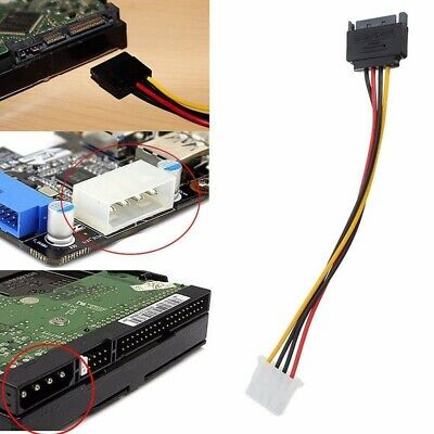 15Pin SATA Male to 4 Pin IDE /& 15 Pin SATA Female Power Cable for Hard Drive