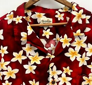 Vintage-Paradise-Bay-Hawaiian-Shirt-Size-4XL-Red-Floral-Short-Sleeve-Made-In-USA