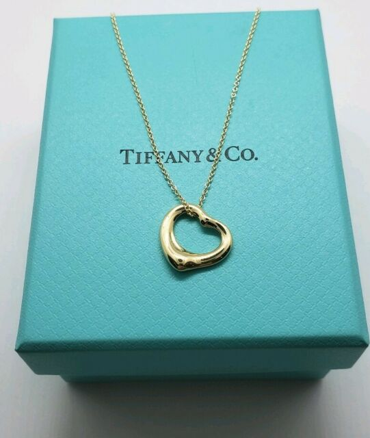 Tiffany&Co Open Heart Necklace in 18k Yellow Gold By Elsa Peretti
