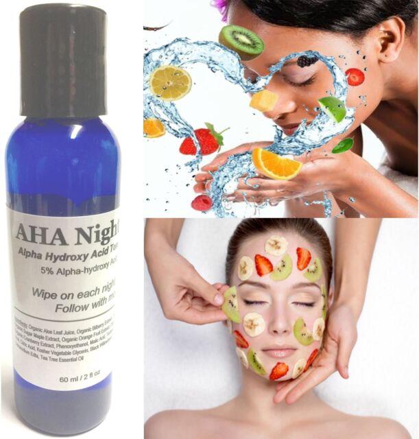 AHA Night Toner 2oz Exfoliate before Nutrients Alphahydroxy Acid Nightly Peel
