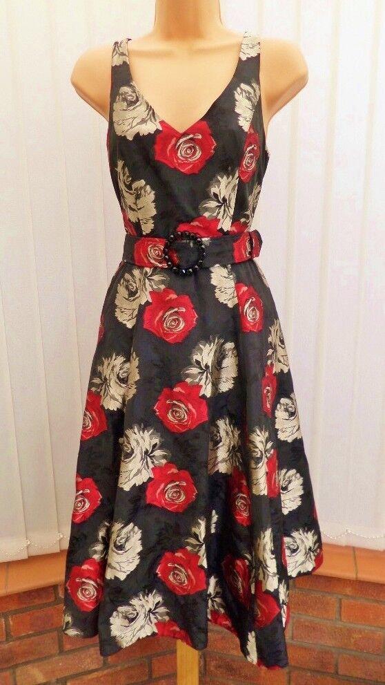 PHASE EIGHT SASHA rot schwarz schwarz schwarz SILKY 50'S FIT N FLARE SKATER DRESS 10 ONCE a224f2