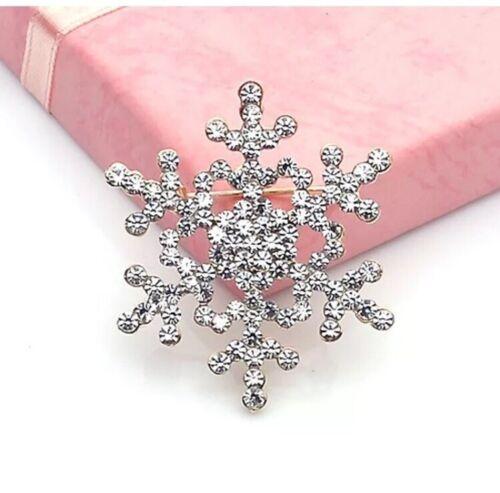 Snowflake Pin Broche con diamantes de imitación de cristal Nieve Invierno Regalo De Navidad