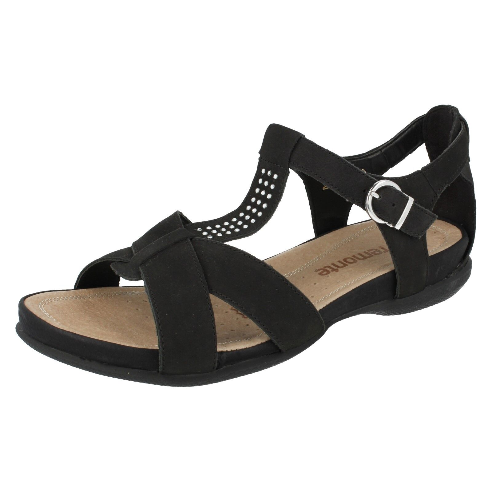Último gran descuento Ladies Black Leather open Toe Summer Remonte Sandals R7455
