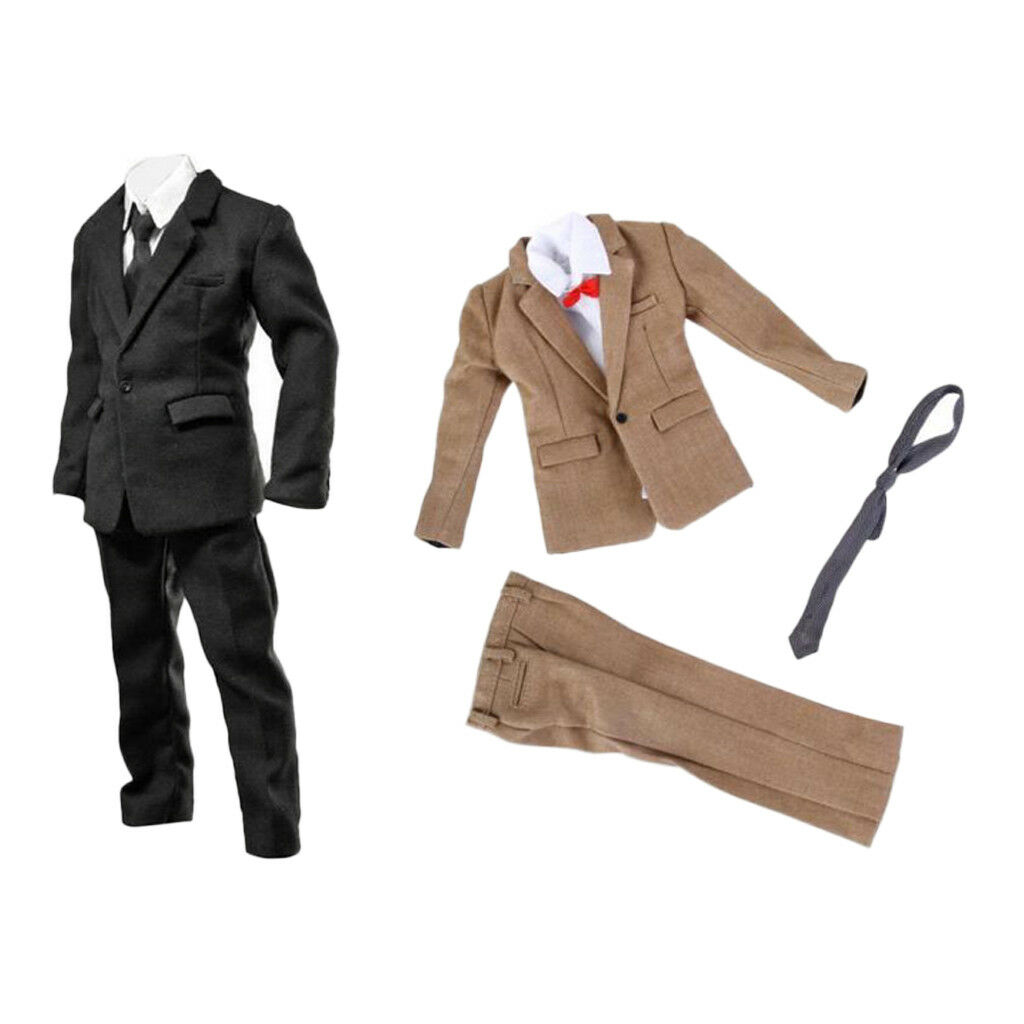 1 6 Clothes Set for 12  Figure Suit Trousers Belt Bow Tie Accessories