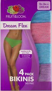 Fruit of the Loom® Women/'s Dream Flex Low-Rise BRIEFS Panties 4 Pack  TAGLESS!