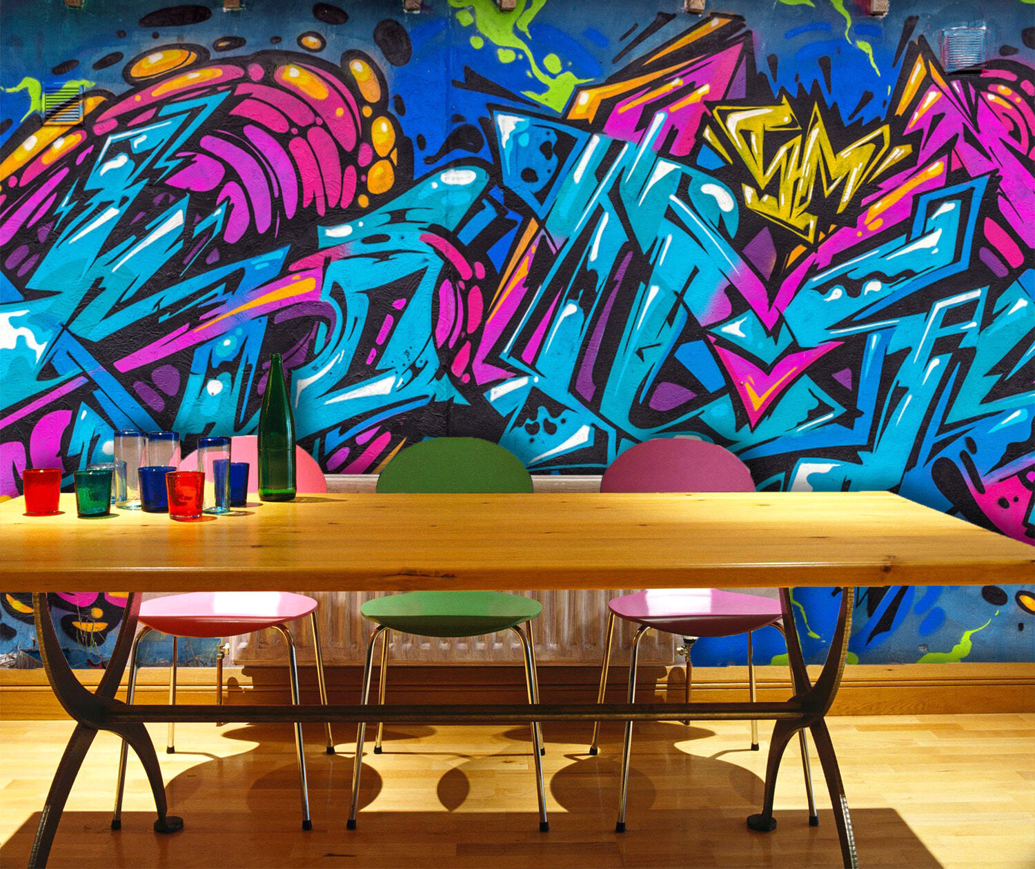 3D bluee Painting Graffiti 424 Wall Paper Wall Print Decal Wall Deco Indoor Wall