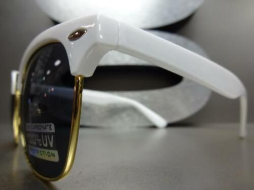 Men/'s Women CLASSIC VINTAGE RETRO Style SUN GLASSES White /& Gold Frame Dark Lens