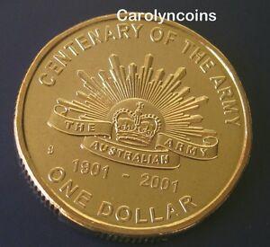 2001 RAM $1 UNC Centenary of the Australian Army S Mintmark