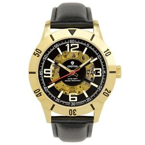 Croton-Men-039-s-CI331093BSYL-Automatic-Skeleton-Dial-Black-Leather-Strap-42mm-Watch