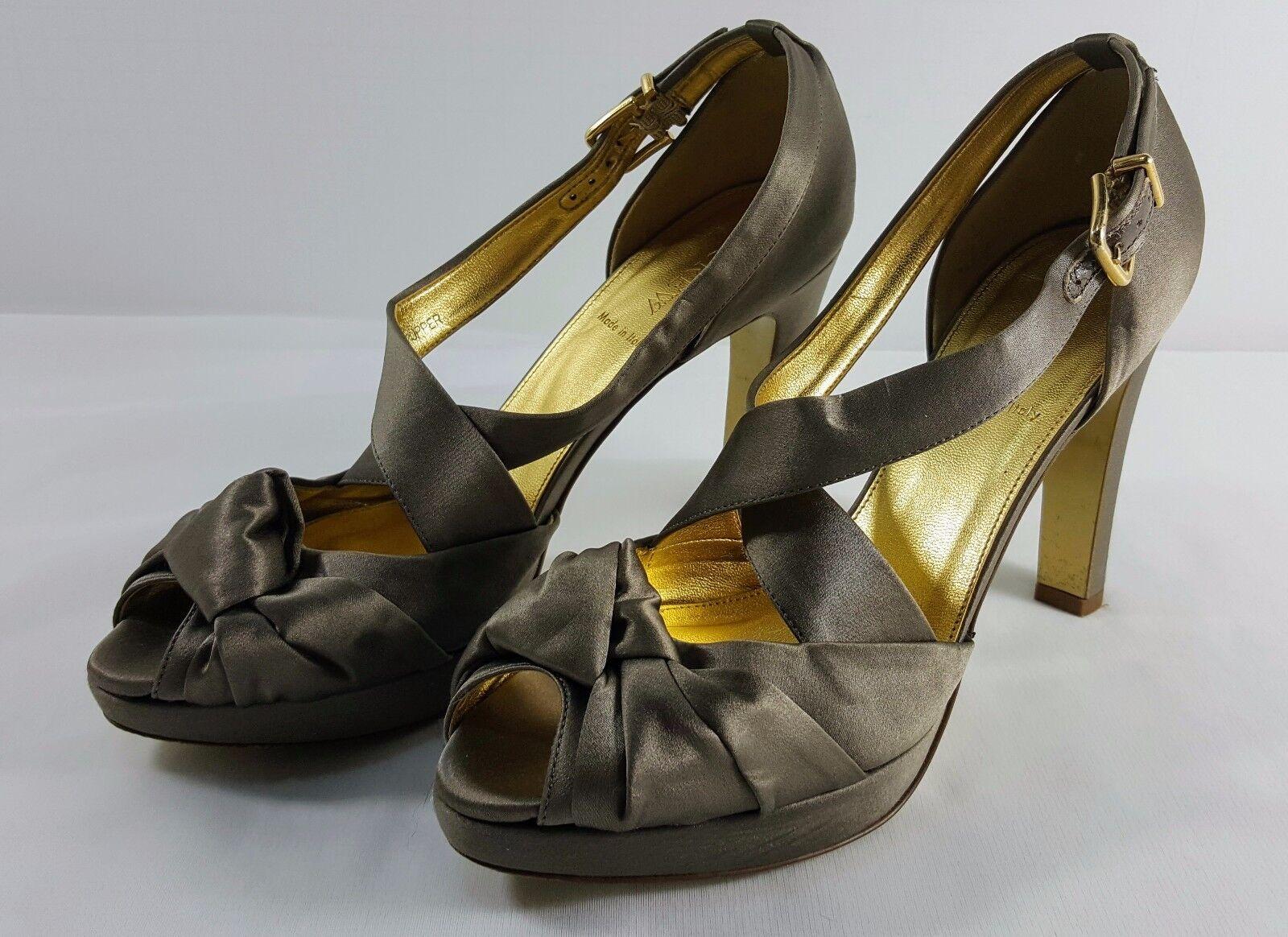 J. Crew Light Brown Tan Satin Bow Open Toe Pump 4.25 Shoes Size 9.5 Womens 4.25 Pump heel 11edef