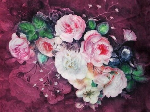 100% Silk Scarves/Wrap,Exquizite'Classical Soft Elegant Roses theme*LinedWrap*BR
