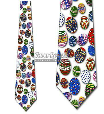 Colored Easter Eggs Mens Neck tie Holiday Decorated Egg Novelty Blue Necktie