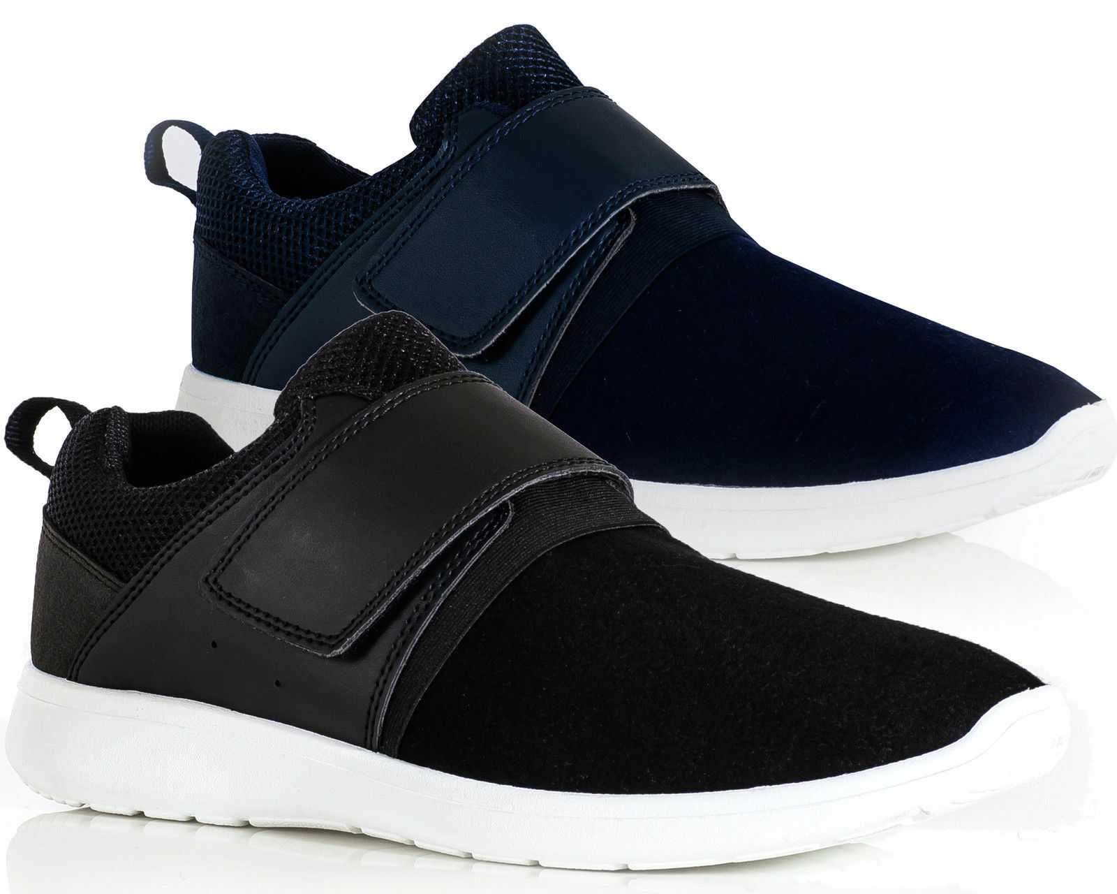 Mens Trainers Lightweight Touch Fasten Slip Shoes On Smart Casual Comfortable Shoes Slip b60035