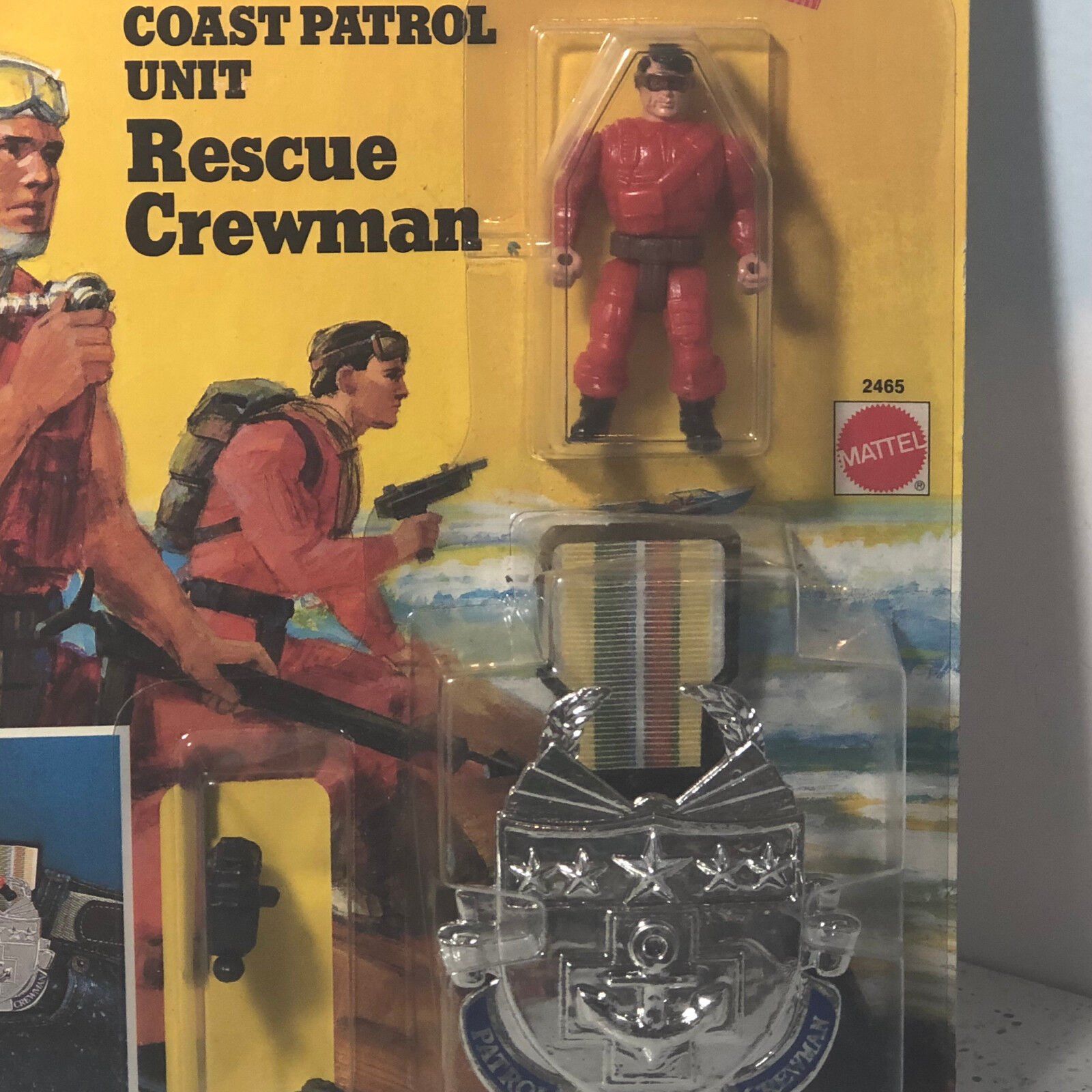 1988 MATTEL MEN MEDAL MOC ACTION FIGURE BADGE CLIP COAST COAST COAST PATROL RESCUE CREWMAN d72395