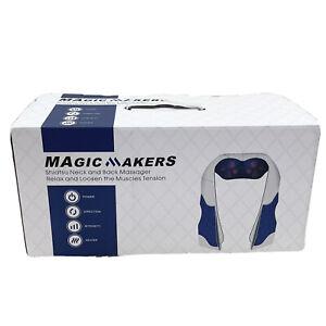 Magic Makers Shiatsu Neck Back Massager Knead Heated Blue Beige Tan NEW Open Box