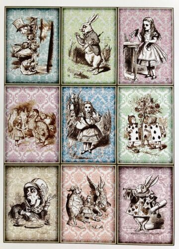 x9 Alice In Wonderland card toppers//scrapbooking//card making//parties//gift tags