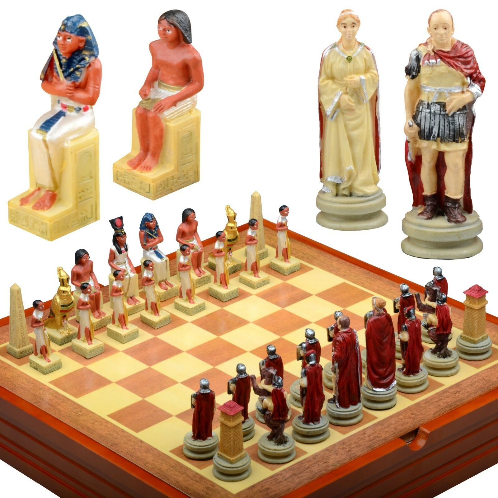 Ancient empires themed  Chess Set. Resin Pieces  Wood Board & Box Rome- Egypt