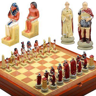 Antico Empires Tema Scacchi Set Resina Pezzi Legno E Scatola Rome- Egitto Limpid In Sight