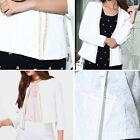 White Blazer Casual Jacket Jewel Trim Korean Jacquard Floral Print Sleeved S-XL