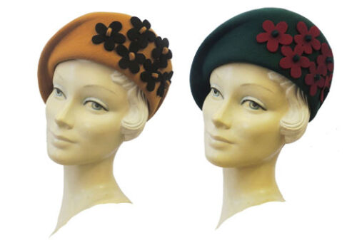 1940s Style Hats    New Ladies Vintage style 1930s 40s WW2 Wartime Felt Flower Cloche Hat $33.42 AT vintagedancer.com