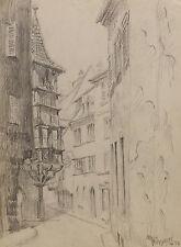 """""""Balcon Pfister in Colmar""""Blei/Kohle. sign./dat. M.Hunsinger 26.7.1946"""