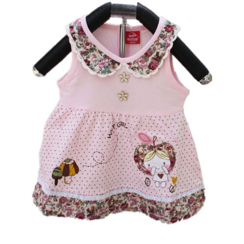 Baby Girls Cotton Party Dress Pink White 3 6 9 12 Months
