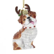 Bulldog w/Antlers Noble Gems Glass Ornament