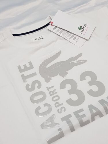 White Lacoste Logo Junior Boys Kids T-Shirt Cotton Tops Tee TJ7976-001