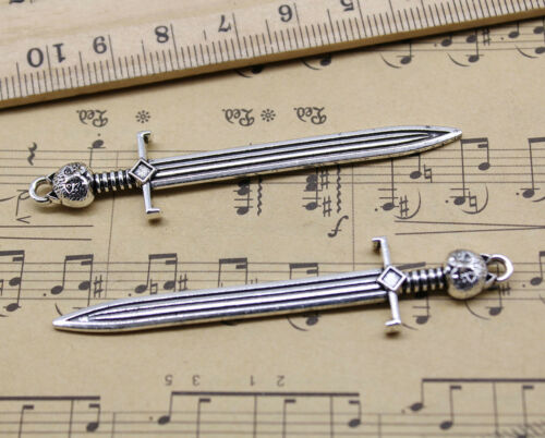 Lot 3//10//20 Sword Alloy Charms Pendants Crafts Jewelry Making DIY 67x14mm