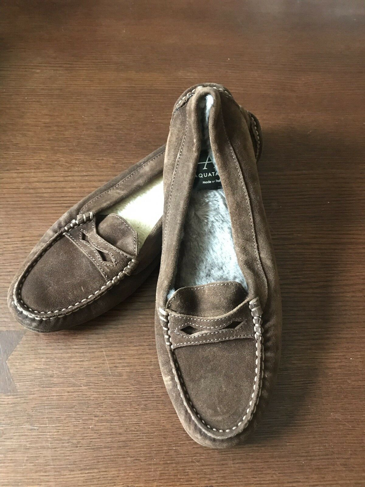 Aquatalia Chestnut marron Penny Loafer Driving chaussures Fur Lined SAMPLE 2016 NWOB