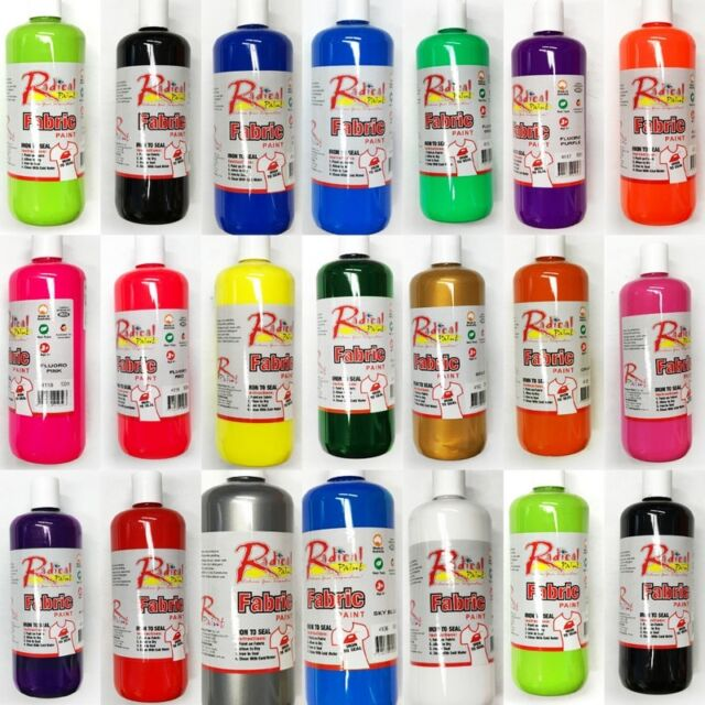 New 500ml Fabric Paint FabricTextil Ink Print Art Craft 20 Colours Made In AUS