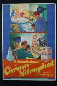 Age Print Advertising Osram Nitraphot Lightbulb Handzettel Old Vintage