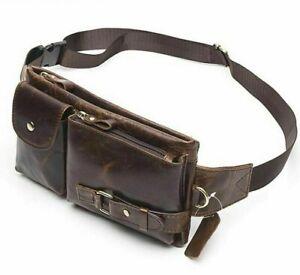 Men Genuine Cow Leather Waist Pack Fanny Bag Travel Pouch Hip Belt Clutch Purse
