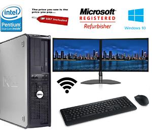 Bon-Marche-Dell-Dual-Screen-17-034-TFT-Ordinateur-De-Bureau-PC-Ordinateur-250-Go-4-Go-Windows-10
